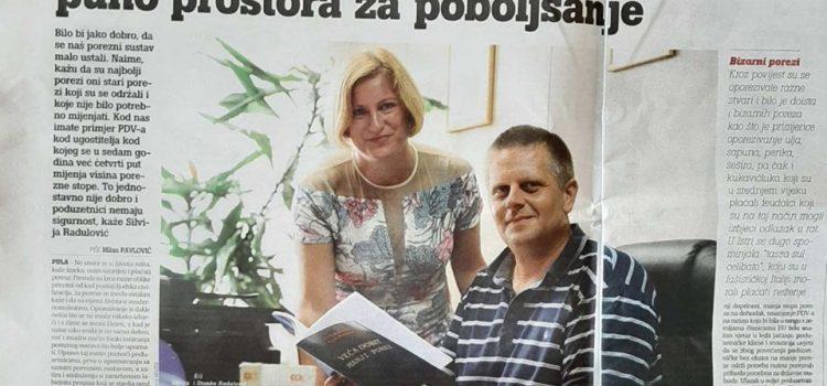 """Dana 24.08.2019. god. Glas Istre je objavio članak povodom izdavanja knjige """"Veća dobit manji porez"""""""