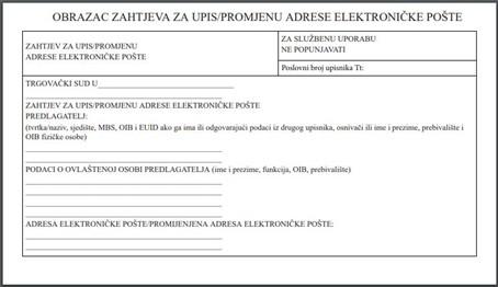Upis adrese elektroničke pošte u sudski registar